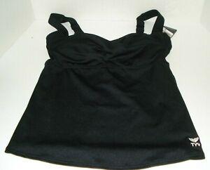 TYR Durafast Twisted Black Bra Tankini Top Size 6 NWT