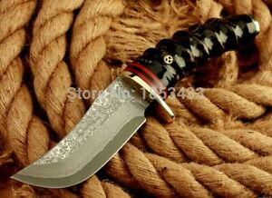 """Handmade Trailing Point Knife Hunting Tactical Combat Survival Damascus Steel 4"""""""
