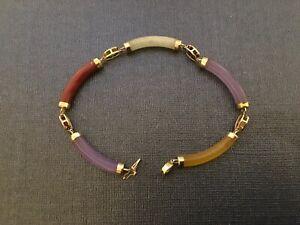 "14k Multi Gemstone 7"" Bracelet Garnet, Citrine, Amethyst, Carnelian"