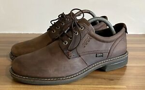 ECCO Men's Turn GTX Plain Toe Tie Shoes Brown Leather Gore-Tex U.K. Size 7.5