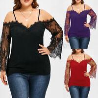 UK 10-24 Women Oversized Off Shoulder Lace Floral Stretch Slim Tops Shirt Blouse