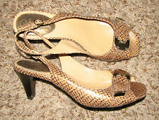 New listing Wmns Sz 9 Cole Haan Beige/Bronze Reptile Print Leather Slingback Shoes