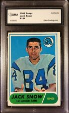 1968 Topps Football JACK SNOW #184 LA RAMS - authenticated