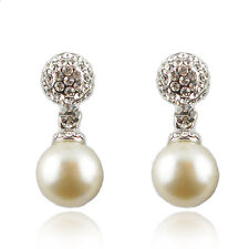 14k White Gold Plated With Swarovski Crystals Pearl Dangle Earrings