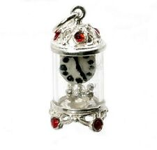 STERLING SILVER JEWELLED RED CARRIAGE CLOCK  CHARM