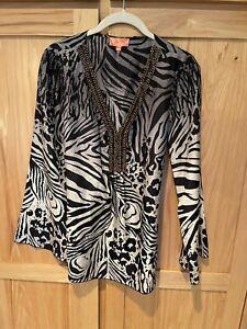 Hale Bob Cabana 100% silk shirt top women's sm top euc animal Print