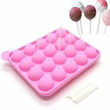 Durable Safe Healthy Silicone Baking Cake Candy Lollipop Mould with 20pcs Sticks