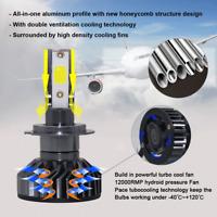 2 x H7 LED 48000LM Headlight Conversion Kit DOB Bulb 360W White High Power 6500K