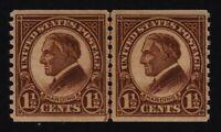 1925 Sc 598 XF rotary coil line pair MNH CV $9