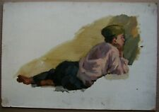 Russian Ukrainian Soviet Oil Painting realism figure child boy post-war time