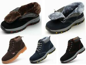 Mens Winter Safety Ankle Boots Steel Toe Caps Womens Fur Lined Work Hiking Shoes