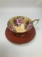Aynsley Rust Orange 4 Large Pink Roses Cup & Saucer