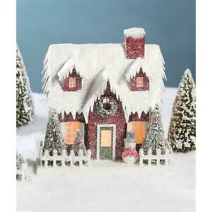 """10"""" Christmas  Village Mantle House with Red Siding and a Snowman"""