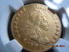 1800 DRAPED BUST, 5.00 GOLD HALF EAGLE, NGC UNC DETAILS, 214 YRS OLD MINT LUSTER