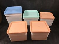Lot of 5 Vintage FREEZETTE Republic Molding Plastic Food Storage Containers 60s