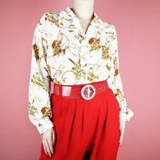 VINTAGE 90s White Gold Chain Yellow Retro Pattern Print Blouse Shirt Top L 16