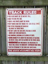 Go Kart Racing Track Rules Sign 18� x 24� Laminated Fiberboard Red Auto Cart