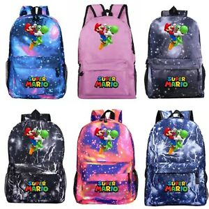 Kids Backpack Boys Girls Super Mario Cartoon Children School Bag Bookbag Bags