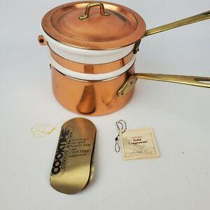 Vintage Cooktime Ken Carter Cookware 3 Pcs Solid Copper Porcelain Double Boiler