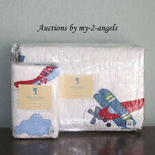 NEW Pottery Barn Kids Vintage AIRPLANE Planes Twin Quilt + Standard Sham!
