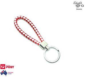 Key Holder Men Women Keyring Leather Braided Woven Rope Red/White