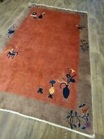 Antique handwoven authentic Chinese salmon color rug size 6ftx9ft circa 1900s