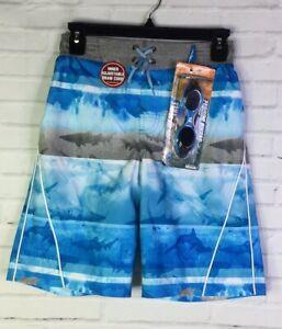 ZeroXposur Boys M 10-12 Swim Trunks Surf Board Shorts UPF 50 Blue Shark Goggles