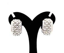 DESIGNER FOPE 750 18K WHITE GOLD BASKET WEAVE HOOP EARRINGS
