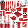 Red Kitchen Accessories Utensil Storage Canister Bin Scales Dish Drainer Cutlery