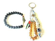 2 Pcs Unisex Palestine Metal Flag with black beaded Bracelet & beaded Key-chain