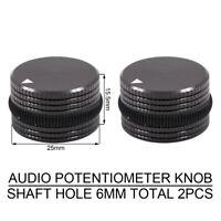 2PCS AUDIO KNOB MACHINED ALUMINUM Amplifier POTENTIOMETER VOLUME CONTROL SWITCH