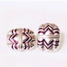 Gucci Enamel Extra Large Statement Earrings 925 Sterling Silver