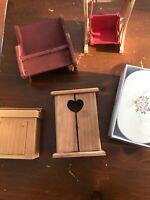 Lot of vintage miniature wooden furniture