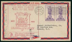 MayfairStamps US First Flight Cover 1937 All Air Mail Flights Caldwell Eastern A