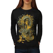 Wellcoda Dragon Asia Japan Womens Long Sleeve T-shirt, Traditional Casual Design