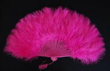 "MARABOU FEATHER FAN - CERISE Feathers 12"" x 20"" Burlesque/Wedding/Bridal"