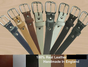 """MENS WOMENS 1"""" INCH CASUAL HIGH QUALITY 100% LEATHER WAIST JEANS TROUSER BELTS"""