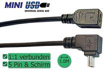 Mini-USB-Verlängerung 1 Meter, Winkelstecker, 5-polig verbunden
