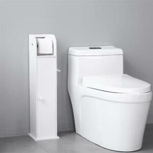 PVC Toilet Roll Paper Holder Storage Floor Standing Bathroom Cabinet White Home