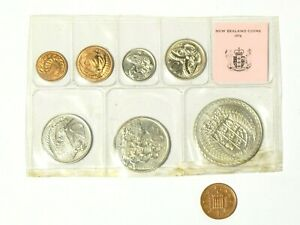 1976 Uncirculated Souvenir 7 Coin Set from New Zealand Treasury by Royal Mint