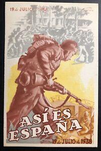 1938 Barcelona Spain Civil War Patriotic Postcard Cover We Are Like This