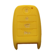 Yellow Silicone Key Cover Case Holder Chain Bag fit for Kia Smart 3 Buttons Key