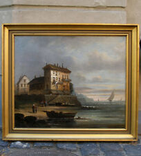Fine Antique costal scene from Brittany, France.  1850s. Signed.