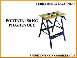 Banco da lavoro richiudibile in Acciaio e legno Vigor Vbl-150 60x64x78H
