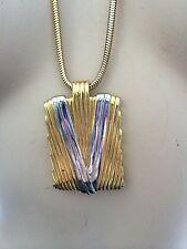 LANVIN Vintage Designer MODERNIST 1980's Necklace Lg Pendant Silver &Gold Design