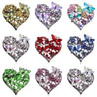 Crystal Elements Gunmetal Lavender Love Heart Butterfly Pin Brooch Xmas Jewelry