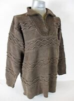 ST JOHNS BAY womens  Large  L/S BROWN RIBBED HEAVYWEIGHT 1/2 ZIP SWEATER (A2)P