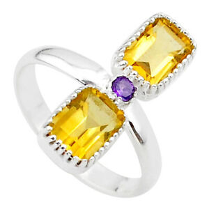 3.05cts Natural Yellow Citrine Amethyst 925 Sterling Silver Ring Size 7 T34396