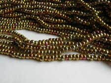 1 Strand 6/0 Czech Metallic Seed Bead Copper Iris app. 180 beads 4mm