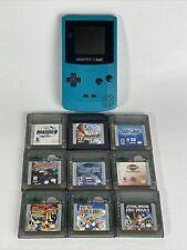 Nintendo Game Boy Bundle-Teal CGB-001 w/ 9 Games (SMB, Tetris, Star Wars, Harley